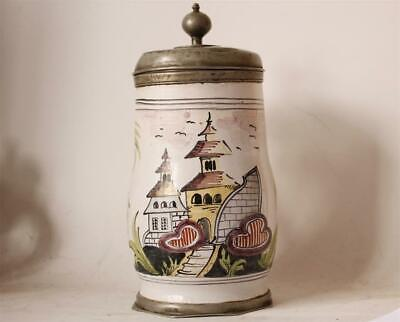 Antique Early Faience Beer Stein Birnkrug Architectural Motifs Habaner dat.1793