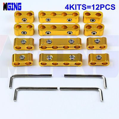 3PC GOLD ENGINE SPARK PLUG WIRE SEPARATOR DIVIDER CLAMP KIT FOR 8MM 9MM 10MM