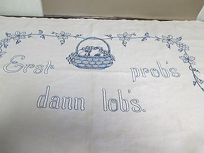 Antique Linen Embroidered Pillow Cover-German-OLD Sexual Phrase-Bedroom