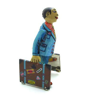Vintage Tin Wind Up Toys Clockwork Wind Up Walker w/Luggage Collectible Gift