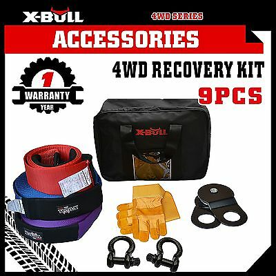 X-BULL Recovery Kit Snatch Straps Bow Shackles Pulley Block Winch 4WD 9PCS