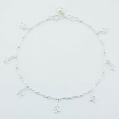 Anklet sterling silver 925 handcrafted with Floral charms Length 270mm brand new