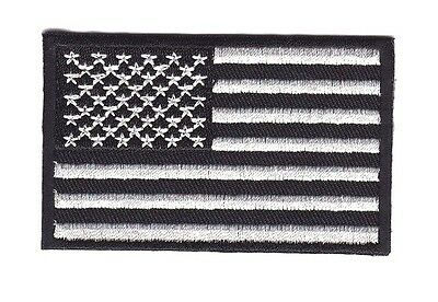 American Us Black White Flag Embroidered Patch Iron On Biker Shoulder Car Racing