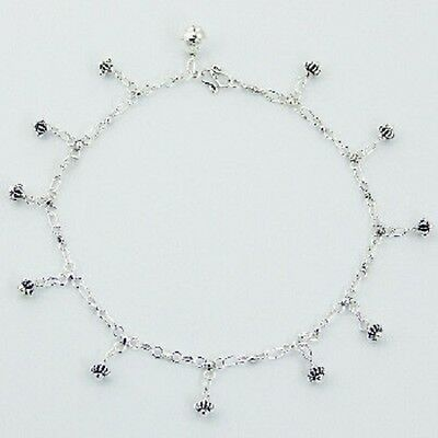 Anklet sterling silver 925 handcrafted cute flower charms Length 270mm brand new