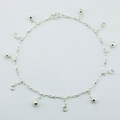 Anklet sterling silver 925  Letter S hoop Spheres charm handcrafted Length 270mm