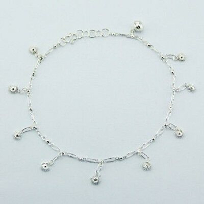 Anklet sterling silver 925 fancy chain & flowers charm handcrafted Length 255mm