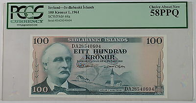 L.1961 Iceland Sedlabanki Islands 100 Kronur Note SCWPM# 44a PCGS 58 PPQ Choice