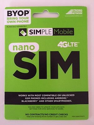 Simple Mobile Nano Sim Card Unltd Talk/text/data T-Mobile Network For Iphone 6
