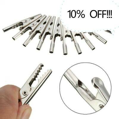 10x Stainless Steel Alligator Crocodile Test Clips Cable Lead Screw Probe Fixing