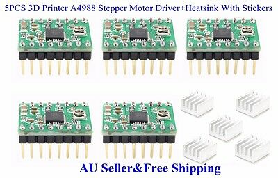 5PCS 3D Printer A4988 Stepper Motor Driver+Heatsink With Stickers For Reprap AU
