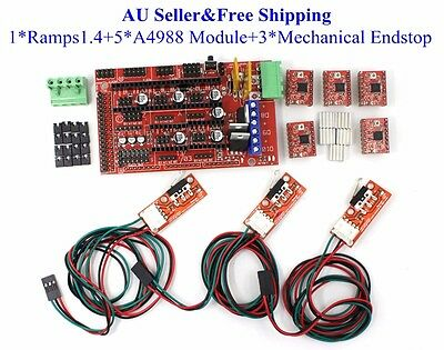 AU Ramps 1.4 board+5xA4988 Driver Module+3xEndstop Sensors for 3D Printer RepRap
