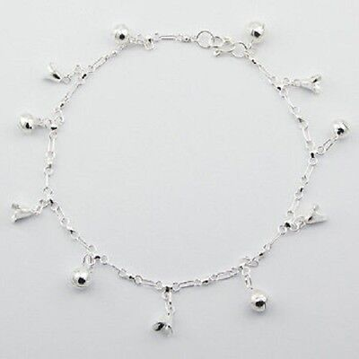 Anklet sterling 925 silver flower cup & sphere charms handcrafted 270mm chain