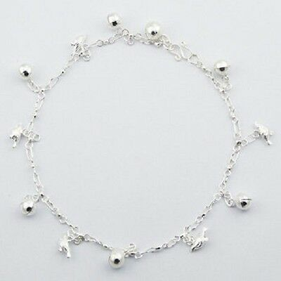 Anklet sterling 925 silver little bird & sphere charms handcrafted 260mm chain