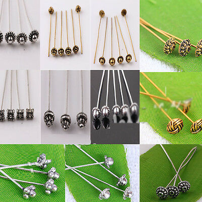 Lots Fangle Plated Metal Head/Crown/Ball Pins Jewellery Finding 50mm Crafts DIY