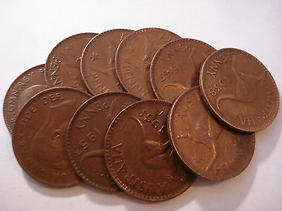Australian Copper Kangaroo Penny / Pennies Bulk Lot 10 pc