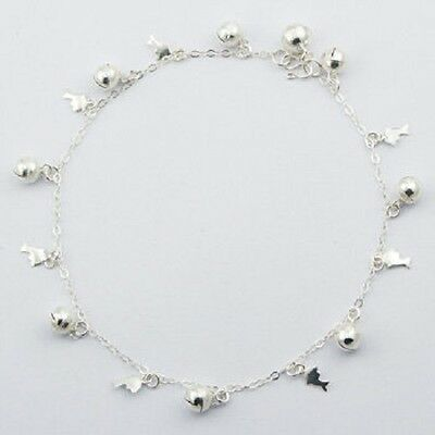 Anklet sterling 925 silver cute dolphins & sphere charms handcrafted 270mm new