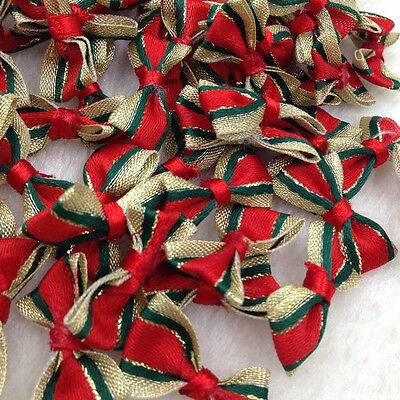 10/30pcs Satin Ribbon Flowers Bows Christmas Red W/ Gold Edge Appliques E292