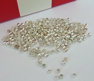 250 pce Silver Tone Barrel Crimp Beads 2mm Jewellery Making Craft