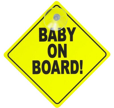Baby On Board Car Sign Display Signs Suction Cup Yellow Badge Presence Awareness