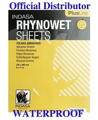 "SANDPAPER Waterproof  9""x 11"" 220 Grit 50 Sheets . INDASA RHYNOWET Plus Line"