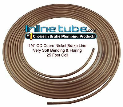 Copper Nickel Brake Line Tubing Kit 1/4 OD 25 Foot Coil Roll USA INLINE TUBE CN4
