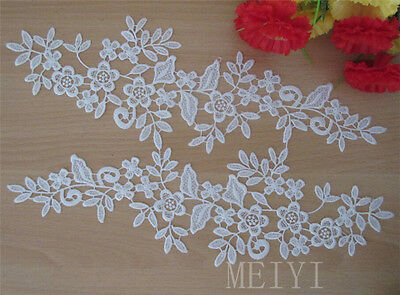 1 Pair Off-white Embroidery Motif Flower Floral Lace Trims Sew On Appliques DIY