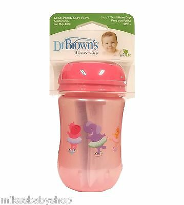 Dr. Brown's 9oz Straw Cup, Pink