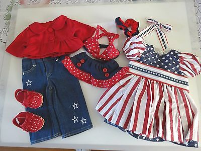 """NEW-DOLL CLOTHES-PATRIOTIC Dress/Pants Set- Lot #175 fit 18""""Doll such as AG Doll"""