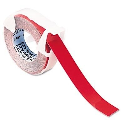 Self-Adhesive Glossy Labeling Tape for Embossers, 3/8in x 9-34ft Roll, Red