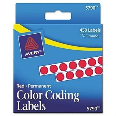Permanent Self-Adhesive Color-Coding Labels, 1/4in dia, Red, 450/Pack