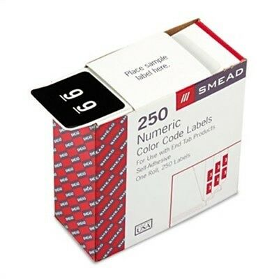 Single Digit End Tab Labels, Number 9, White-on-Black, 250/Roll