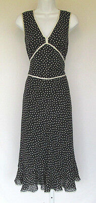 VINTAGE 1970s 80s AGB BYER CALIFORNIA DRESS BLACK WHITE DOTS POLYESTER SIZE 6