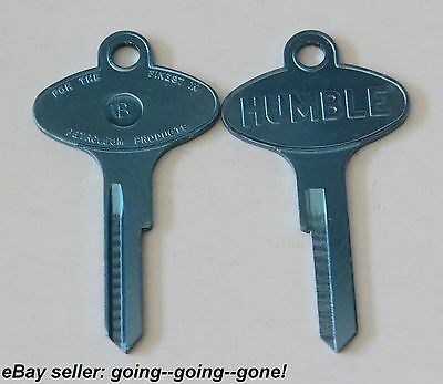 Vintage Humble Oil Co Key Blank Ford Lincoln Mercury Edsel 1958-1966 1127Du Blue