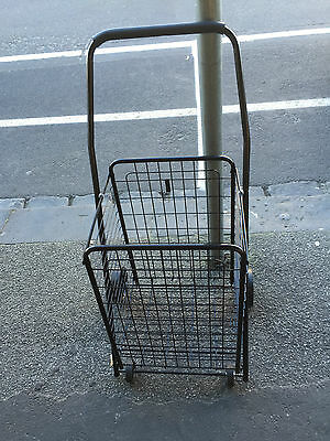 Large Shopping Trolley Collapsible 4 Wheels Steel Metal Basket Foldin- Brand New
