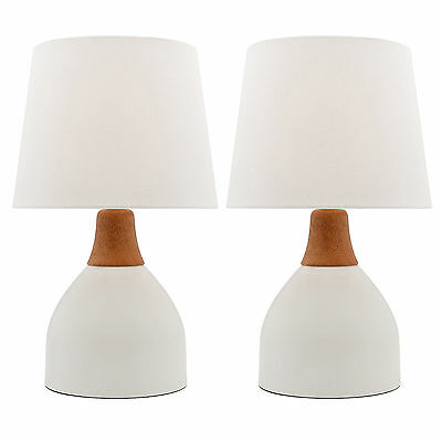PAIR OF Mercator Madeline Bedside Table Lamps White With White Shade A62911WHT