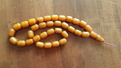 Amber Bakelite  Kehribar Faturan Prayer Beads 33+1 Rare Full 124 Grams Original