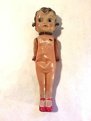 Vtg Kewpie Flapper Era Celluloid Betty Boop Doll Made Japan w Earrings Necklace