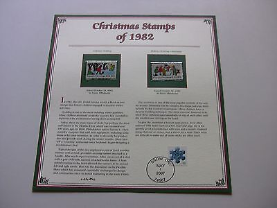 20 Cent Children Sledding and Children Building a Snowman 1982 Christmas Stamps