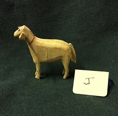 Vintage Tiny Wood carved Standing German Miniature Christmas Sheep  ~ Antique  J