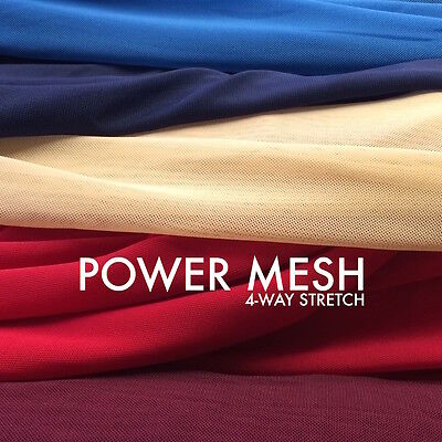 """Solid Power Mesh Fabric Nylon Spandex 60"""" wide Stretch Sold BTY Many Colors"""