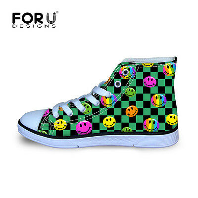 Emoji Children's Kids Girls Canvas Sports Shoes Casual Lace up High Top Sneakers