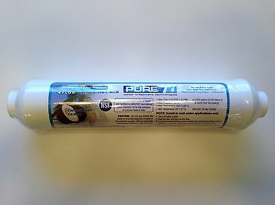 """Reverse Osmosis In-Line Carbon Filter 10 X 2 3/8"""" Quick Connect Ends - 4 Filters"""
