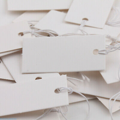 Lots 100Pcs White Blank Paper Label Price Tags With Elastic String Craft 40x20mm