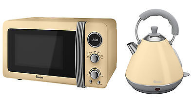 Swan Kitchen Retro Set - Retro Digital Microwave Cream & 2 Litre Cream Kettle
