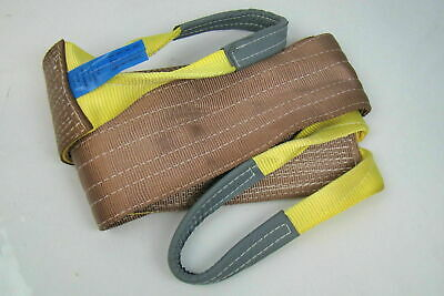 """6"""" x 10' Brown Heavy Duty Nylon Sling Tow Recovery Strap 12,000 lbs Single Ply"""