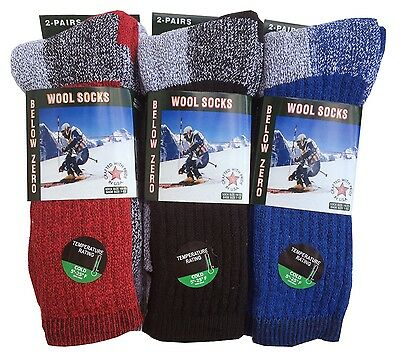 """2,4, Pairs Men's  Wool Thermal Socks Fits 10-13 Winter Outdoor """"Heavy Duty"""" USA"""