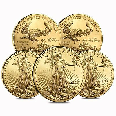Lot of 5 - 2016 1 oz Gold American Eagle $50 Coin BU