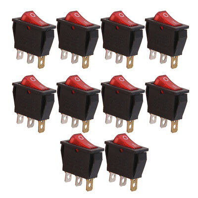 10pcs AC 125-250V Red LED ON/OFF Pushbutton Car Boat ON/OFF Toggle Switch