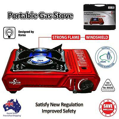 Portable Gas Burner Stove Cooker Butane AGA APPROVE Camping WINDSHIELD with Case
