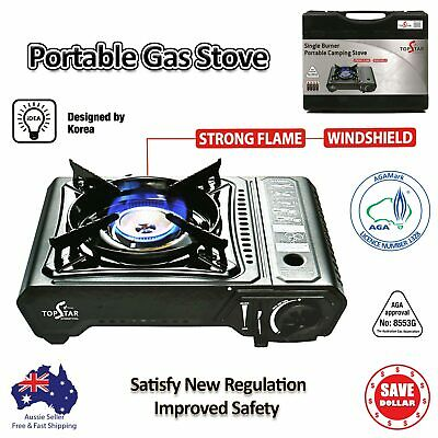 Portable Gas Burner Stove Butane Cooker AGA APPROVE Camping WINDSHIELD with Case